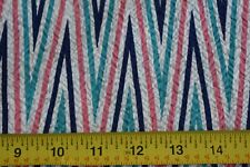 "By 1/2 Yd, 36"" Wide, Vintage 1940's-60's, Navy Green Pink White Seersucker, A612"