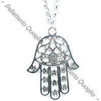 Collana Catena Lunga Regolabile Ciondolo Argento Tibetano Mano Di Fatima Amuleto