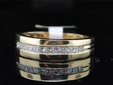 Diamond Wedding Band 14K Yellow Gold Princess Cut Mens Anniversary Ring 0.50 Ct.