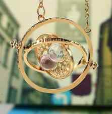 HOT Harry Potter/Hermione Granger Gold Hourglass Rotating Time Turner Necklace