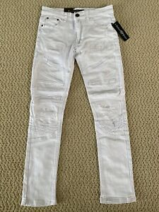NWT Men's Nathan Denim White Moto Distressed Stretch Skinny Biker Jeans Sz 28-34