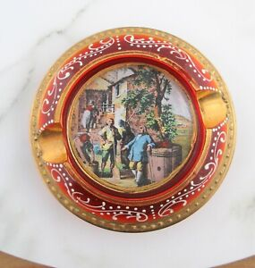 Vintage KB Italy Painted Red Glass Ashtray, Mid Century Italian Glass