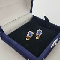 VINTAGE Blue Cluster Clip-On Earrings Sterling Silver & Gold Plate CZ Diana Look