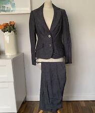 JAEGER 2 Piece Trouser Suit Size 10 Blue   PIN STRIPE 100% Linen OFFICE Smart
