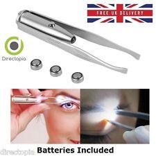 LED Light Up Tweezers Eye Brow Stainless Steel Multi Purpose Tool