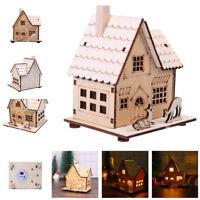 LED Light Wooden Dolls House Villa Christmas Ornaments Xmas Tree Hanging Decor d