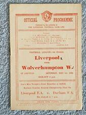1948 - LIVERPOOL v WOLVES PROGRAMME - FIRST DIVISION - 47/48