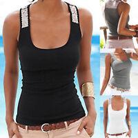 Women Plus Size Sleeveless Tees Vest Tank Tops Summer Casual Blouse T Shirt