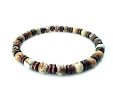 Men Bracelet Beaded Stone Wood Beads Shamballa Stretch Wristband Jewelry Gift
