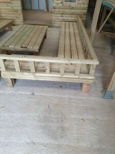 Wooden garden table and bench set