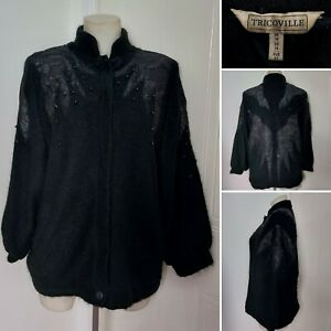 Vintage TRICOVILLE Black Fluffy Mohair Wool Oversize Cardigan 14 80s Retro