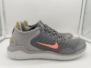 Nike Womens Free RN Run 2018 UK 3 Gunsmoke Grey Crimson 942837-005