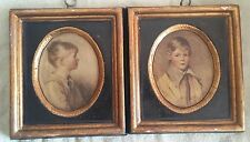 Art Children Peter Charlotte Plaque Paintings Boy & Girl Ceramic 6x7 inches