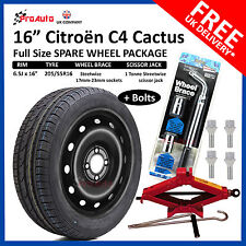 "CITROEN C4 CACTUS 2014 -17 FULL SIZE STEEL SPARE WHEEL 16""  TYRE  TOOL KIT BOLTS"