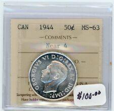 1944 Canada Near 4 Fifty Cents - ICCS MS-63 - Cert#EN986