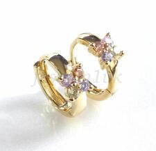 Girl Lady Simulated Diamond Pink Flower Huggie Hoop Earrings14K Gold Plated
