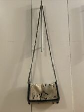 Authentic STELLA McCARTNEY Black Leather Silver Chain Over Shoulder Bag Purse