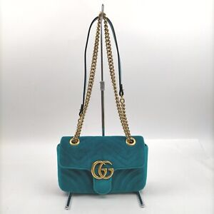 Gucci Shoulder Bag GG Marmont Chain Shoulder Blue Belvet 707704
