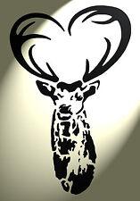 Shabby Chic Stencil CERVO DEER TESTA CUORE CORNA MYLAR VINTAGE a4 297x210mm Muro