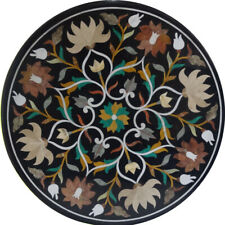 """18""""x18"""" Nic Black Round Design Marble Inlay Table Top"""