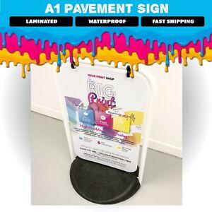 Large Swinging Pavement Sign LAMINATED, Black or White Frame Options, Waterproof