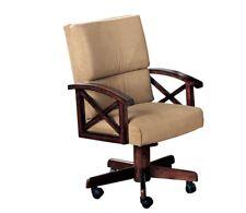 Marietta Beige Upholstered Oak Finish Swivel Game Arm Chair by Coaster 100172
