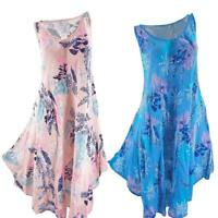 Floral Print Loose Sleeveless Dress Women O Neck Summer Irregular Sundress