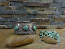 GORGEOUS OLD NAVAJO STYLE 3 CERRILLOS GREEN TURQUOISE STERLING CUFF NATIVE  PAWN