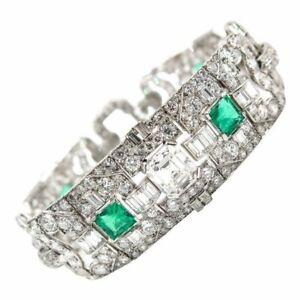 Handmade Green Princess-cut Baguette And Round CZ 925 Sterling Silver Bracelet