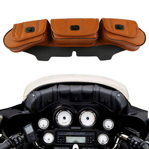 Windshield Saddle Pouch Leather Three Pocket Fairing Bag For Harley Street Glide