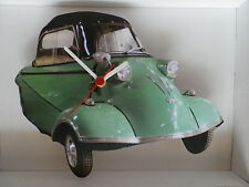 CLASSIC MESSERSCHMITT THREE WHEELER CAR IN GREEN WALL CLOCK. NEW AND BOXED.