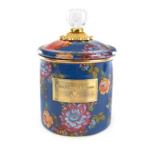 """MacKenzie-Childs  Flower Market Small Canister Lapis  5"""" dia.7.5"""" tall with Lid"""