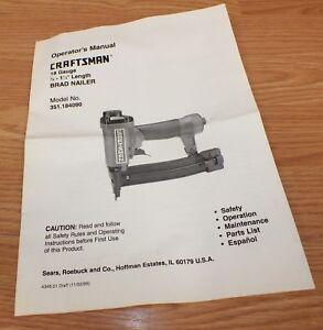 Craftsman Operator's Manual Only For (351.184090) 18 Gauge Brad Nailer **READ**