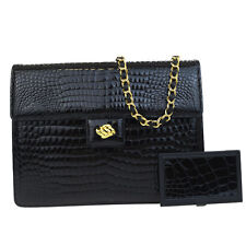 Authentic Original Chain Shoulder Bag Crocodile Skin Leather Black Mirror 05Q012