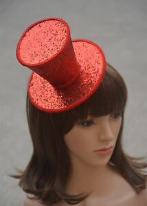 A150 Burlesque Gothic Glitter Mini Top Hat Party Church Millinery Hairclips
