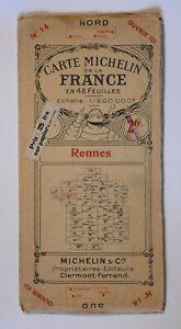 CARTE MICHELIN DE LA FRANCE EN 48 FEUILLES N°14 RENNES BRETAGNE 1924 Guide