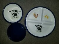 Pottery Barn Kids Serving Feeding Set Farm Animals Plate Bowl & Lid Dishwasher