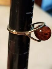 MID CENTURY MODERN 18K GOLD  RUSSIAN BALTIC AMBER RING SIZE 5