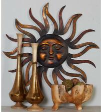 Rustic Sun 3-D Metal Wall Art Sculpture, Round Face, Curved Rays, Bronze Finish