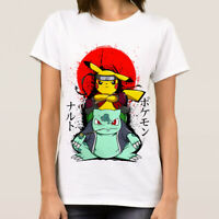 Pokemon Anime T-Shirt, Bulbasaur Pikachu Original Art Women's Tee