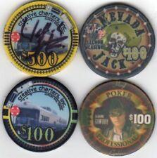 4 pc 4 color set JACKS CROSS poker chips sample set #35