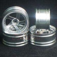 MST Flat Silver TMB RC 1:10 Drift Car Wheels Offset +8 EP On Road #102045FS