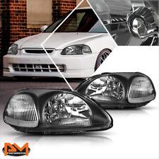 For 96-98 Honda Civic EJ/EM/EK Black Housing Headlight Clear Corner Signal Lamp