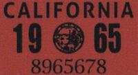US USA California Kennzeichen License Plate Number Plate Aufkleber 1965