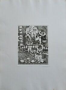 """Francesco Musante acquaforte 1976 """"il Circo"""" 50x35 firmata numerata"""