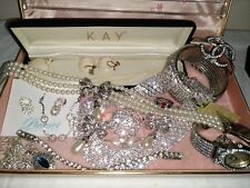 VINTAGE TO NOW  JEWELRY LOT OF  RHINESTONE NECKLACES BROOCHES BRACELETS EARRINGS