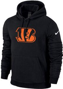 Nike Cincinnati Bengals Charged Up Big Logo Pullover Cotton Fleece Hoodie NEW