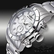 NEW Balmer 1156M -WHT Mens Viper Venom Swiss Chronograph Stainless Watch WHITE