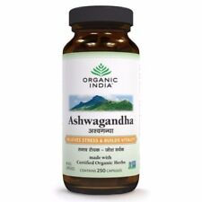 Organic India Ashwagandha 250 Capsules Bottle improve memory Stress Relieving.