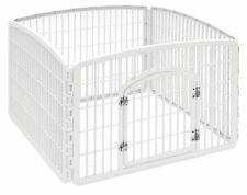 Dog Play Pen Fence Pet Exercise Yard Kennel Gate Cage White